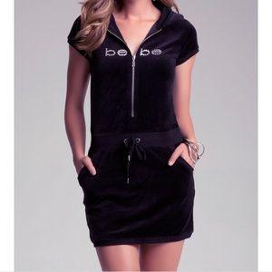 Bebe logo Swarovski crystal velour mini dress XS